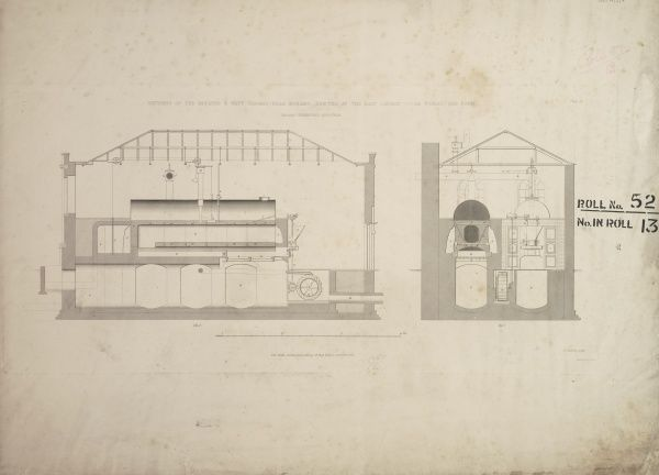 Sections of the Boulton and Watt waggon-head boilers erected at the East London Water Works Date: 1842