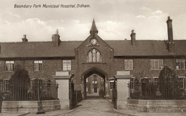Arched entrance to Boundary Park Municipal Hospital, Rochdale Road, Oldham, Lancashire. The hospital began life in 1851 as the Oldham Union workhouse. During its later history, its names have also included Westwood Park Institution, the Oldham