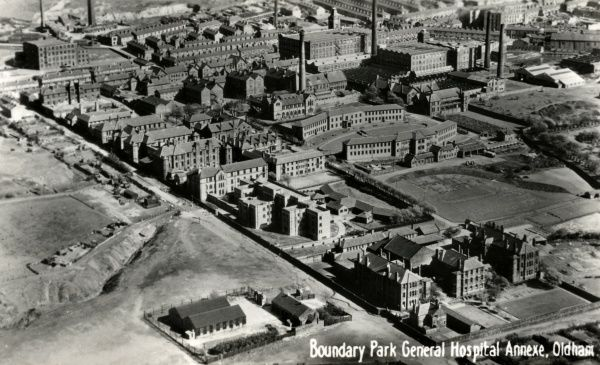 An aerial view from the north-west of Oldham's Boundary Park Hospital, formerly the Oldham Union workhouse. Sheepfoot Lane runs from top-left to bottom-centre of the picture. Date: circa 1935