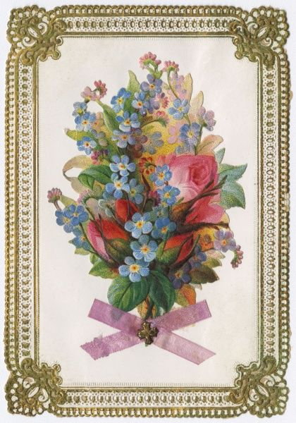 A greetings card with a floral design - pink roses and blue forget-me-nots tied with a real pink ribbon. Date: circa 1870