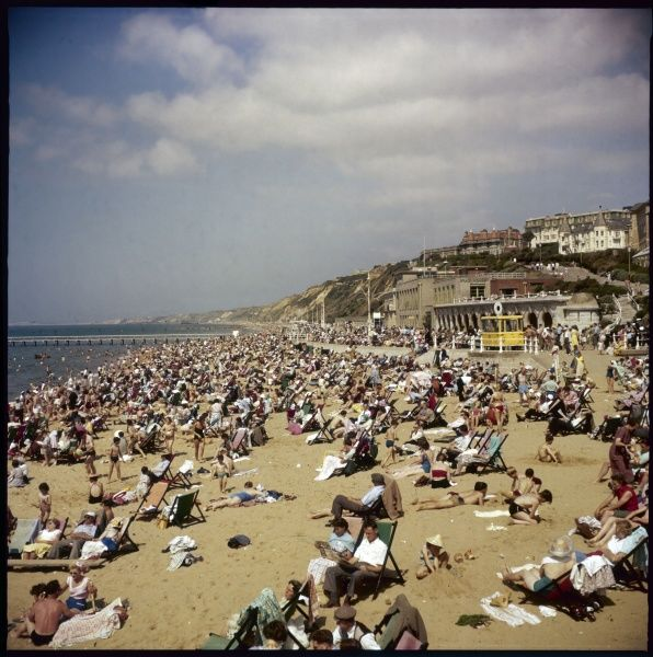 A very crowded scene on the beach at Bournemouth, Dorset, during the height of the summer season