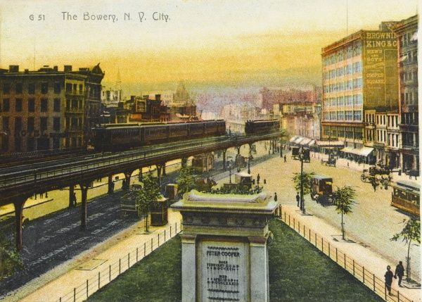 Elevated trolley line in the Bowery, New York City, America