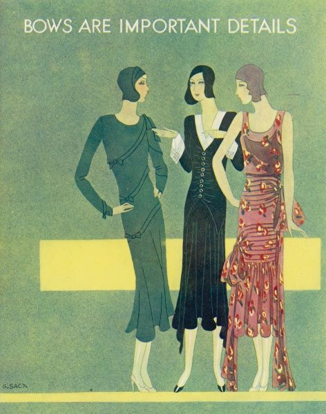 Colour fashion illustration showing glamorous dresses adorned with bows