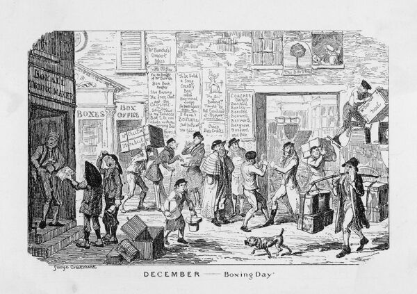 Scene featuring puns on 'boxing day': a child has his ears boxed; two men are boxing; notices advertise coaches to Boxhill; boxes are carried on shoulders