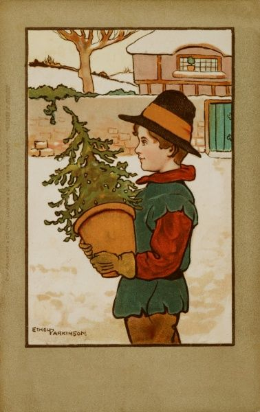 A young boy in 17th century costume carries a small Christmas tree in a pot. He looks as if he might come from Puritan stock so could be in big trouble when he gets home