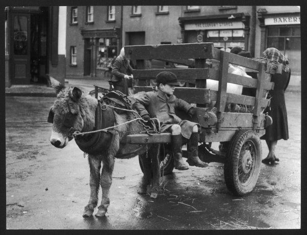 A small boy waits patiently on a donkey cart in the Market Place at Kildare, Co Kildare, Ireland. The cart is traditional, only the tyres give it a more modern twist
