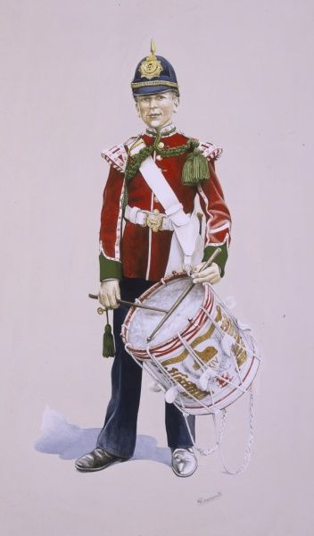 Boy Drummer of The South Wales Borderers (circa 1909) in Full Dress. Pictured with drum plus bugle (all drummers were buglers). Painting by Malcolm Greensmith