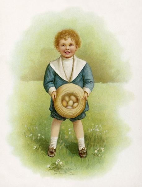 A little boy in a garden, holding six eggs in his hat
