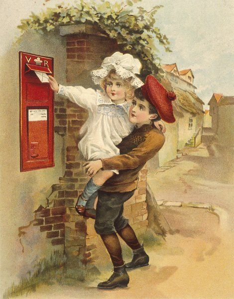 A boy helps his little sister post a letter by lifting her up to the letter box