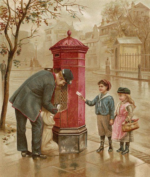 A boy and girl arrive with a letter just as the postman is emptying the box