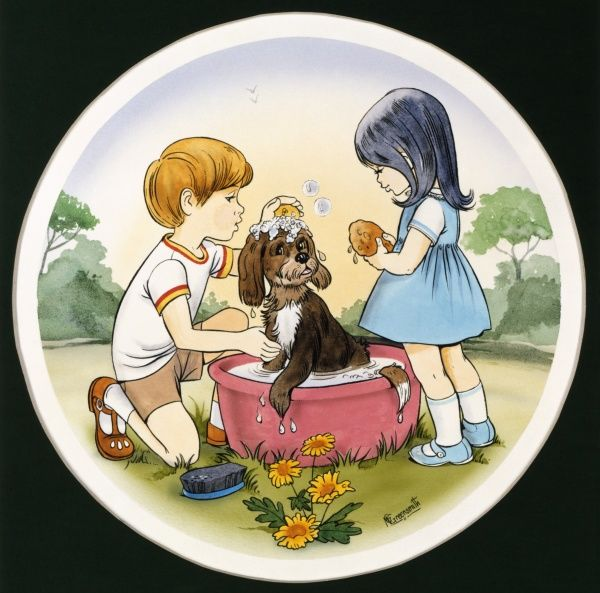 A young boy and girl (possibly brother and sister) wash their pet dog in a tub of soapy water. Ink drawing with watercolour wash by Malcolm Greensmith