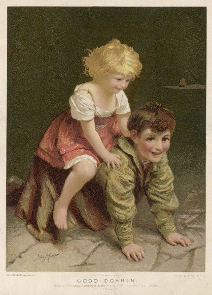 Good Dobbin: Two country children at play. A brother, on all fours, gives his little fair-haired sister a ride on his back across the flagstones