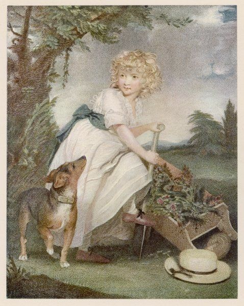 A young boy, Master Henry Hoare, wears a high-waisted, white muslin frock with tucks at the hem, a blue sash, white stockings & lightweight brown lace-up shoes. N.B straw hat