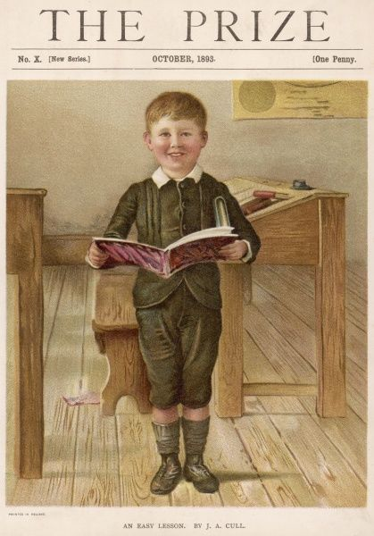 English schoolboy wears a knickerbocker suit with Norfolk jacket, white shirt with turned down collar, woollen socks & stout laced boots. Date: 1893