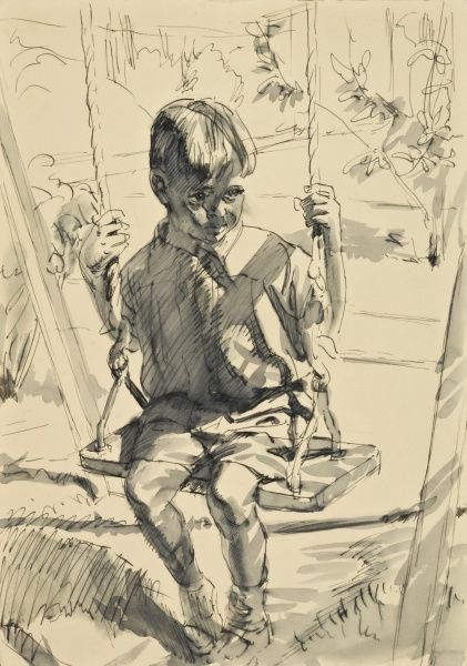 A young boy playing on a swing. Pen and Ink with wash sketch by Raymond Sheppard