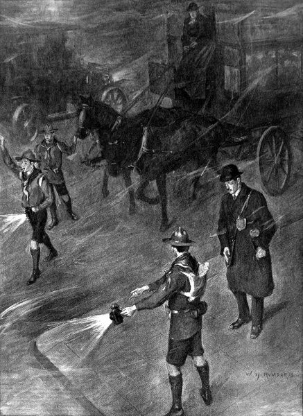Illustration showing two Boy Scouts directing traffic and pedestrians, during a heavy fog in London, 1909