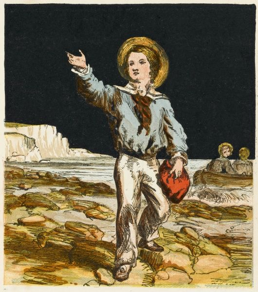 A Victorian boy wears the widely popular sailor suit as he lands on the beach