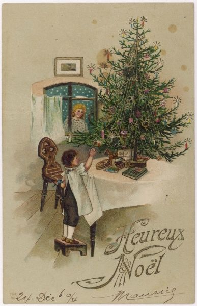 A small boy climbs on a stool to get a better look at the Christmas Tree, while a kindly angel peers through the window