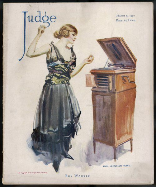 """BOY WANTED !' a girl on her own plays her phonograph Date: 1920"