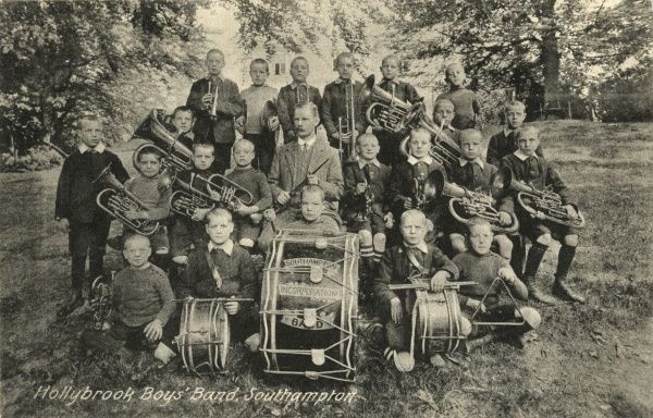 The boys' band at Hollybrook cottage homes at Shirley Warren, Southampton