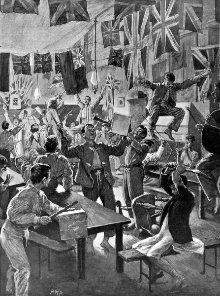Illustration showing schoolboys at Charterhouse boarding school celebrating the news of the Relief of Mafeking during the Boer War, 1900. The news reached the school shortly before 'bed time', hence their state of attire