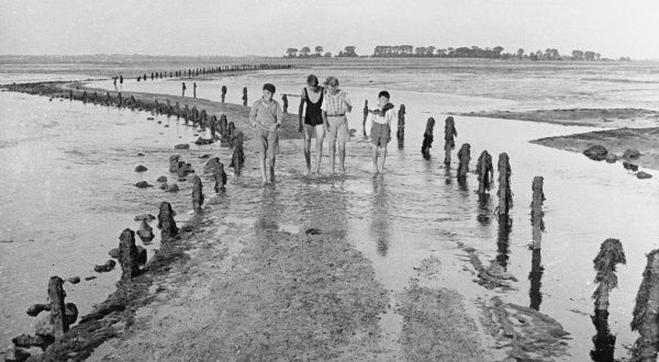 Four friends walk barefoot along a causeway at the seaside, possibly the beaches at Burnham