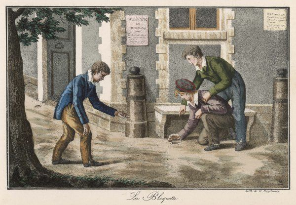Three boys playing marbles Date: circa 1840