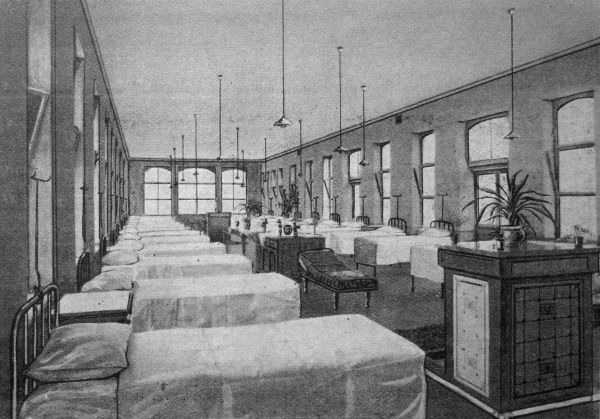 An interior view of a 'Nightingale' ward at the new poor law infirmary opened in 1905 at the Bradford Union workhouse in West Yorkshire