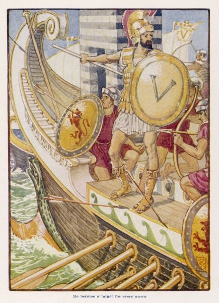 The Spartan admiral Brasidas, bombarded by Athenians defending the fortress of Pylos, drops his shield into the sea, an omen to the Greeks, who soon defeat him