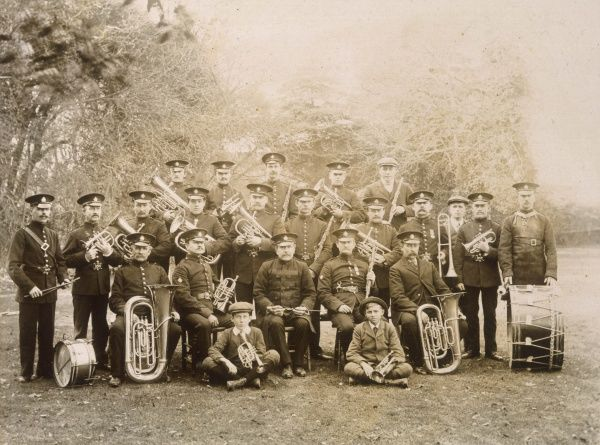 Unidentified band, most of them in uniform but with a few wearing 'civilian' clothes