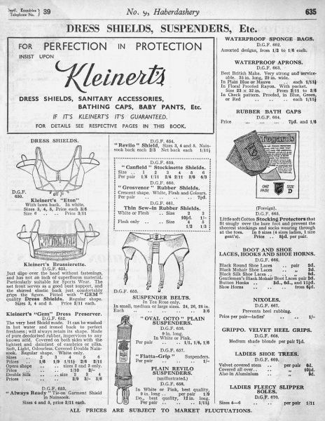 Kleinert's brassierette: a lightweight bra without fastenings but with a shirred elastic back. Suitable for sports. It is also fitted with dress shields. Date: 1938