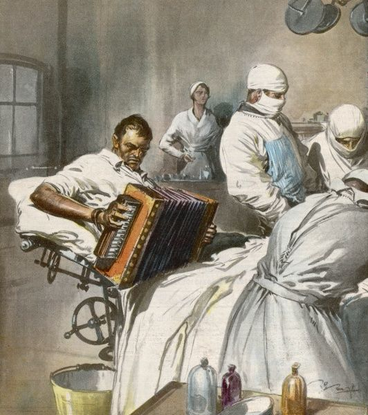 At Stradella, Italy, accordeon player Guglielmo Bonfoco refuses anaesthetics for leg amputation, provided he can play his instrument during the operation