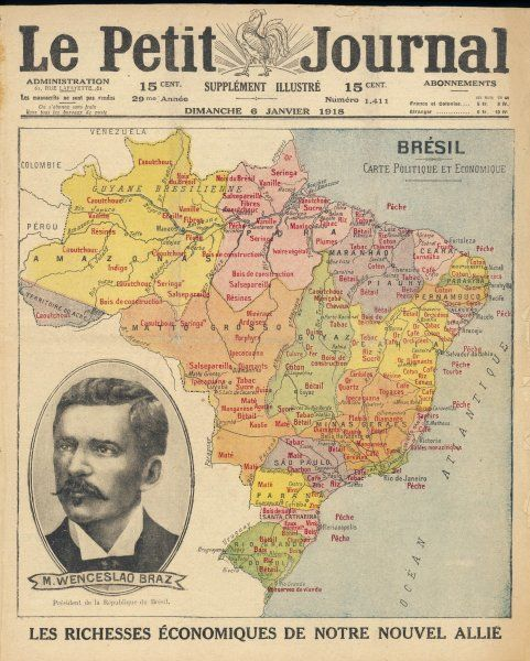 A map of Brazil with a portrait of its then president Venceslau Bras. Brazil had declared war on Germany in 1917 during World War One