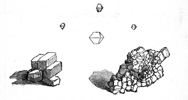 Engraving of gold formed into cubic crystals, found in Brazil