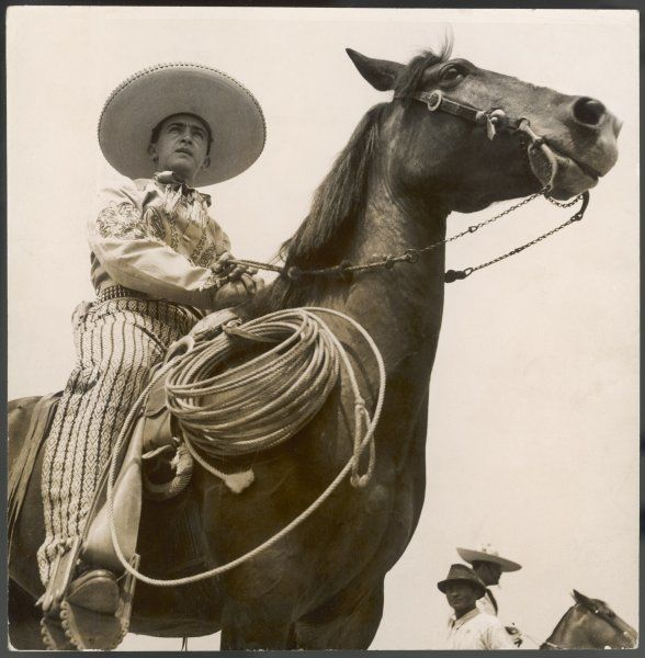 A Brazilian 'gaucho', a cowboy who works the cattle on the ranch, on horseback, wearing his sombrero, lassoo at the ready