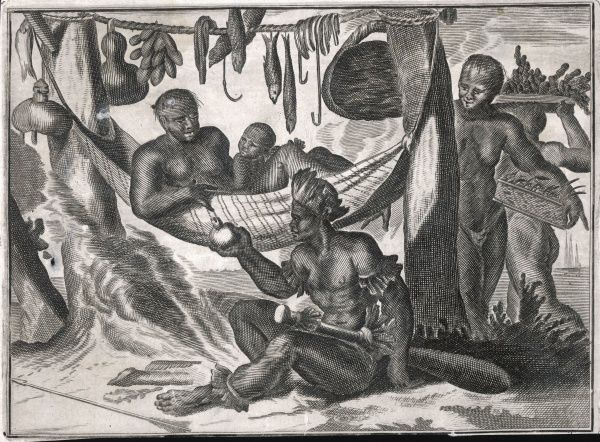 The indigenous people of Brazil, relaxing on hammocks with fresh fruit and fish to hand, as first encountered by Vespucci and his men