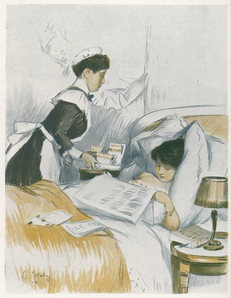 A young woman has breakfast brought to her in bed by a maidservant