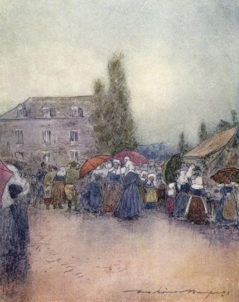 A rainy day at a Breton fair. The women wear their regional costume and most have colourful umbrellas. Date: 1905