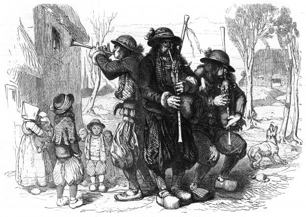 Breton 'sonneurs' are the equivalent of waits, but they probably make a lot more noise as they parade through the village Date: 1853