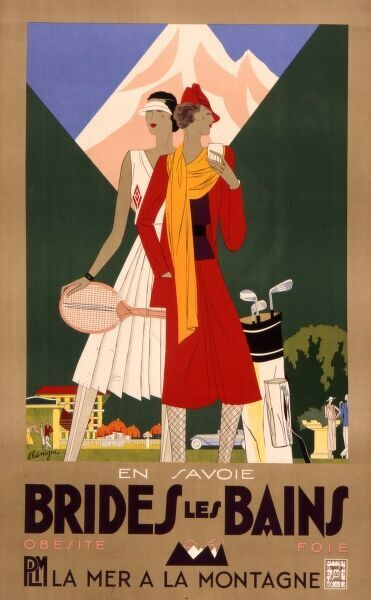 Tourism poster for the French resort of Brides les Bain in the Savoy region, from the PLM company, offering a variety of sports including golf and tennis in the summer and skiing in the winter
