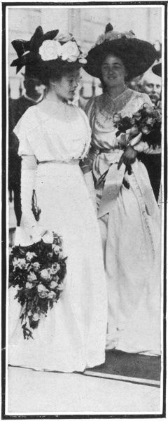 Two of the bridesmaids the wedding of Winston Churchill and Clementine Hozier at St. Margaret's Church in Westminster on September 12th, 1908,. Miss Madeleine Whyte on the left and Miss Claire Frewen on the right