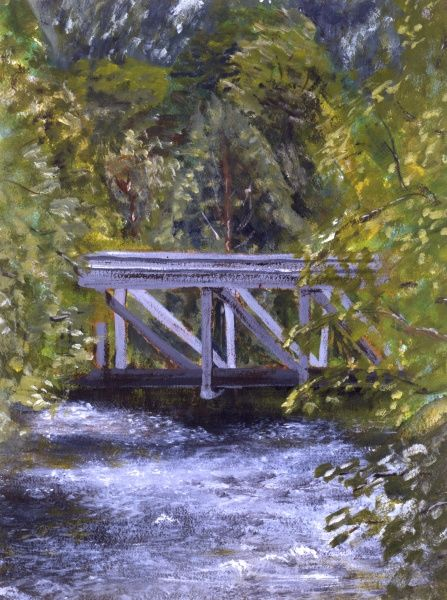 Echoing the composition of Monet's series of pictures of the bridge in his garden over a pond at Giverny, this oil painting by Malcolm Greensmith studies the dappled reflection of light on the water and the overhanging greenery of the trees