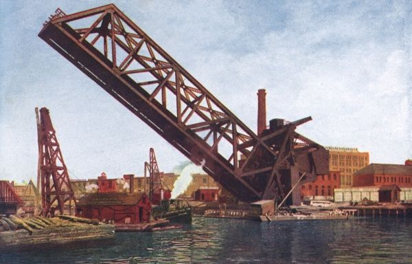 Single leaf bascule bridge of the Chicago & Northwestern Railway, in Chicago harbour. It is operated by electricity. Date: 1916