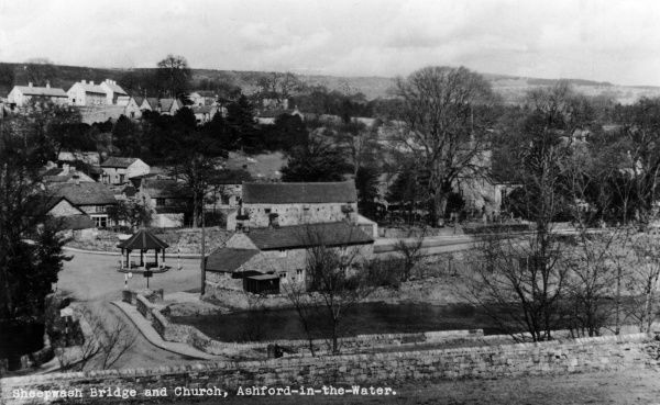 View of Sheepwash Bridge and Church, Ashford-in-the-Water, a village in the Peak District near Bakewell, Derbyshire. Date: circa 1940