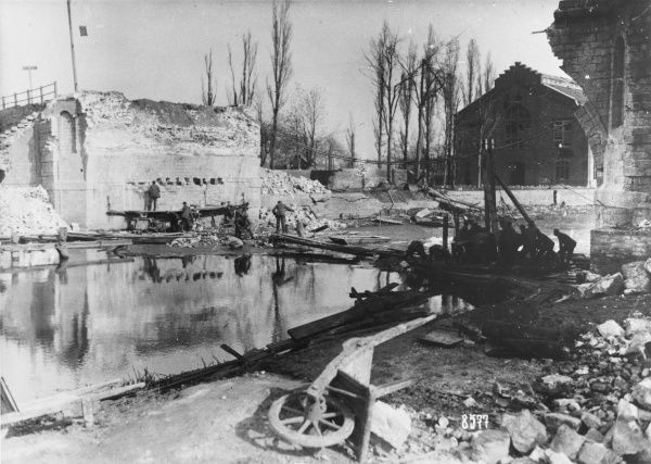 Construction of a bridge at Armentieres in France during World War I