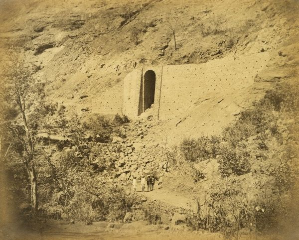 Bridge and retaining wall on rock escarpment; at 8 3/4 miles Date: 1856