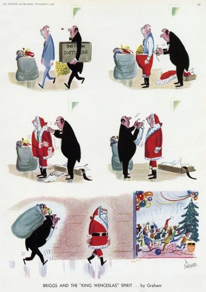 Strip cartoon Graham showing a loyal and put-upon butler helping his employer to dress in a Father Christmas costume, and heaving a huge sack of toys towards a children's party where Father Christmas gets all the glory and attention