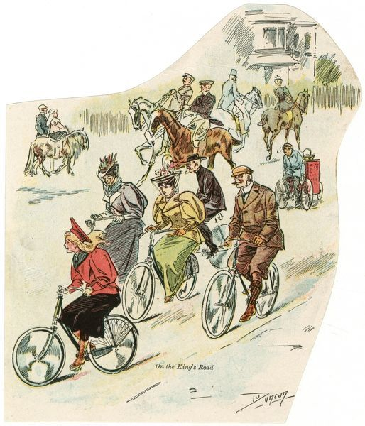 Cyclists of all ages and sexes pedal along King's Road, Brighton, including an errand boy with his tricycle... the horse-riders look away with contempt