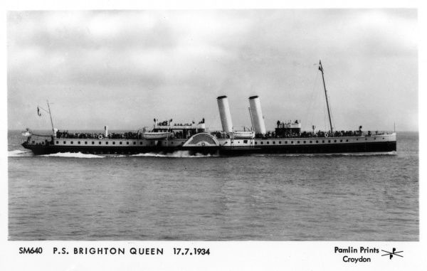 A paddle steamer employed for holiday excursions. Date: 1934