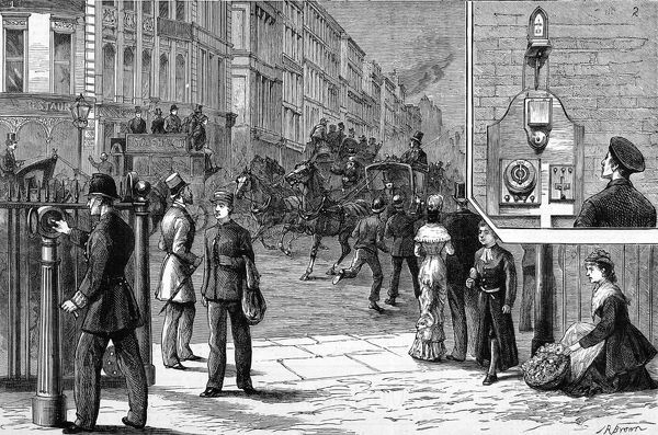 Illustrative montage showing Bright's electric street fire alarm in use. The larger image shows a policeman activating the alarm at a post in the street, while the smaller image shows the indicator alerting a fireman at the central station